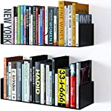 shiok decor® Wall Mount Metal U Shape Shelf Book CD DVD Storage Display Bookcase Black Set of 2