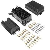 DEDC Auto Sicherungskasten, 12 Stecker Relais Box Relaishalter für 6 Relais und 6 ATC/ATO Sicherungen mit 41pcs Metall Steckverbinder für Auto