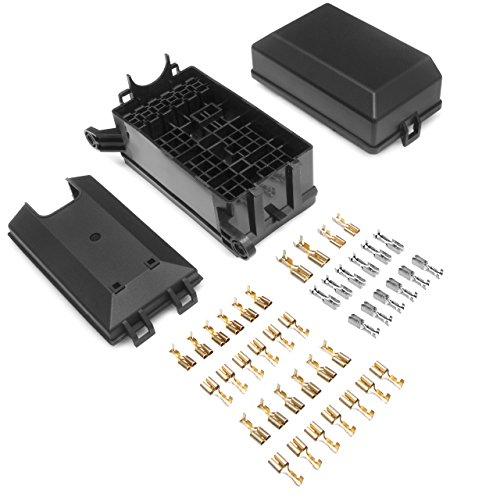 DEDC Caja de Fusibles Coche 6 Vias Relés 6 Hojas Fusibles Protección de Sobrecarga Seguro Universal para Coche Auto Vehículos