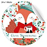 24 süße Genesungs Aufkleber mit kleinem Fuchs und Tasse Tee, MATTE Papier Sticker für Geschenke, Mitgebsel, universal Etiketten für Deko, Pakete, Briefe etc (ø 45mm; 24 x 1 Motiv) Gute Besserung