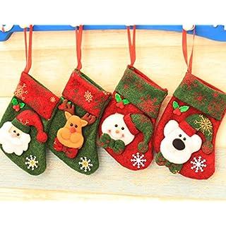 ANGTUO 4 Stück Weihnachtsstrumpf Set, Mini Weihnachtssocken Santa Candy Pouch Geschenk Tasche Baum Hängende Ornamente Dekoration