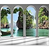 murando - Fototapete Paradies 350x256 cm - Vlies Tapete - Moderne Wanddeko - Design Tapete - Wandtapete - Wand Dekoration - Meer See Laguna Landschaft Thailand grün Natur 10110903-13