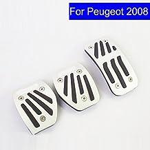 szss-car coche nueva aleación de aluminio Combustible Gasolina Combustible del embrague pedales de freno en el frenado pad Foot Rest Plate Set para Peugeot 50820083008pedales con logotipo