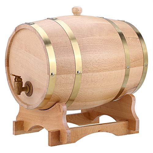 Barril de Roble, Barril de Madera de Roble Roble Vintage Dispensador con Soporte de Madera para Almacenamiento de Buen Vino, Brandy, Whisky, Tequila (10L)