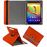 Fastway Rotating 360° Leather Flip Case Cover For Alcatel A3 10 16 GB 10.1 Inch With Wi-Fi Only Tablet (Orange)