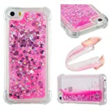 iPhone 5S SE Case, Awesome Glitter Flowing Floating Love Heart Paillettes Quicksand Slim Cover, TAITOU Cool Liquid Moving Clear Ultralight Thin Phone Case for iPhone5S SE Pink