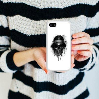 Apple iPhone 5 Housse Étui Silicone Coque Protection Tête de mort Chapeau Crâne Housse en silicone blanc