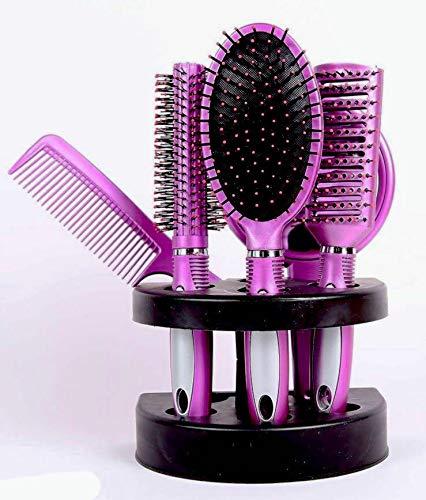 5 teilig Professionelles Frauen Haarbürste Set Massage Kamm Halter mit Spiegel und Ständer - Pink