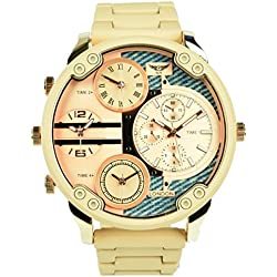 NY London Men's Beige with Rose Gold Face Four Time Zones Metal Strap Watch Analog Quartz Fold Over Clasp Extra Battery