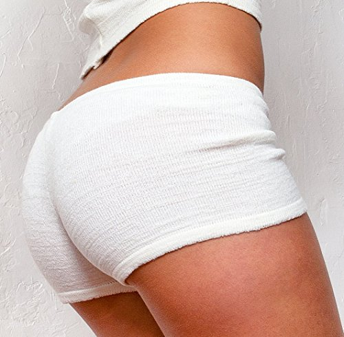 Stretch Top Tube & Sexy Shorty-Short KD dance NYC & tendance extensible souple Blanc - Crème