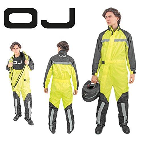 OJ Atmosfere Allwetter-Regenkombi für Motorrad und Motorroller, wasserdicht, fluoreszierend, Größe XL