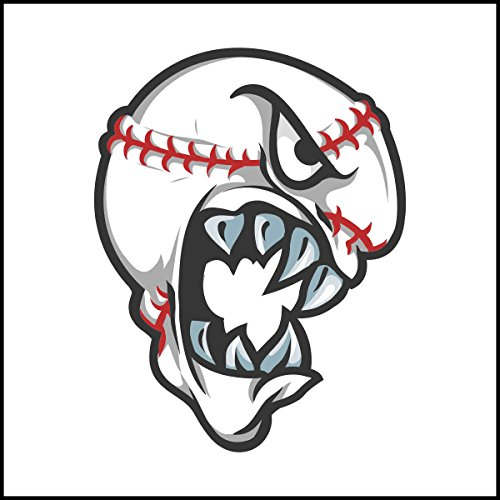Fliesenaufkleber Fliesentattoos für Bad & Küche - Küchenfliesen für weiße einzelne Fließen empfohlen 18x18 cm - Sport Maskottchen Logos - beängstigend Baseball-Ball-Maskottchen-Logo (Beängstigend Baseball)