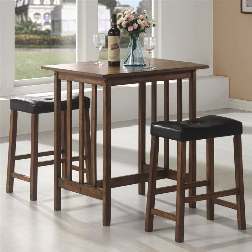 Coaster 3 Piece Pub Table Set in Nut Brown by Coaster Home Furnishings - Pub Coaster Set