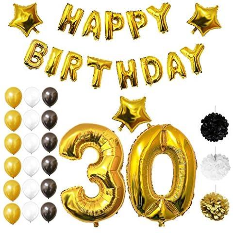 Ballons Happy Birthday 30ème Anniversaire, Fournitures & Décorations par Belle Vous - Set tout-en-un - Gros Ballon Aluminium 30 Ans - Ballon de Décoration en Latex Or, Blanc & Noir- Décor Adapté pour les Adultes