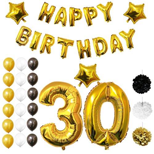 Luftballons u. Dekoration zum 30. Geburtstag von Belle Vous - 26 tlgs. Set - Großer 30 Jahre Ballon - 30,5cm Goldene, Weiße u. Schwarze Dekorative Latex-Ballons - Für Erwachsene (30. Geburtstag-dekorationen In Schwarz Und Weiß)