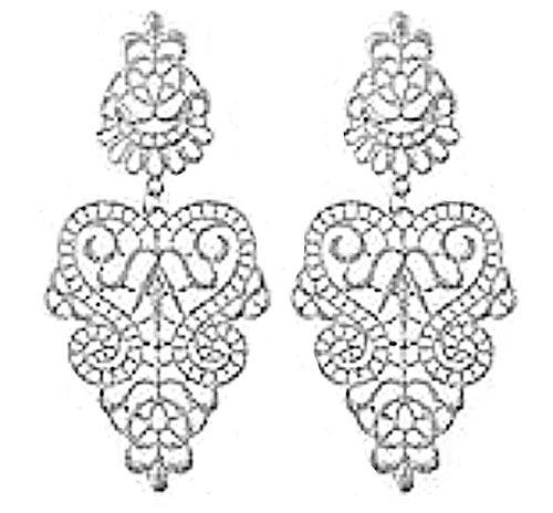 Larga linayo® Plata Blanco Brilliant Victorian Vintage Style barroco puntas pendientes, Ohrstecker