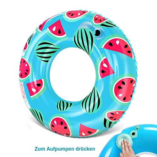 Aufblasbarer Schwimmring, Donut-Schwimmen-Pool-Hin- und Herbewegung mit integriertem eingebauter Luftpumpe, Sommer-Pool-Strand-lustiges aufblasbares Spielzeug für Erwachsene und Kinder (Ø 100cm)