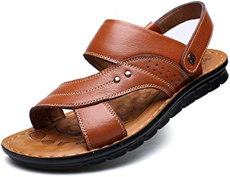 Herren Leder Braun Offene Zehe Sandalen Strandschuhe Freizeit Ziehen Sie Auf Sandalen Slipper Brown 42