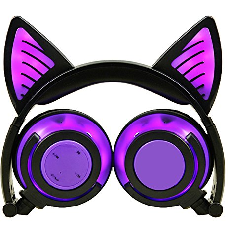 Caracteristicas: ◆ Bluetooth ◆ Batería 8 horas ◆ LED luces brillantes en las orejas de gato ◆ Auriculares cerrados dinámicos ◆ Diadema plegable ◆Driver 40mm ◆Control de micrófono y teléfono inteligente(El micrófono solo funciona cuando está conectado...