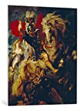 kunst für alle Leinwandbild: Peter Paul Rubens Der heilige Georg im Kampf mit dem Drachen - hochwertiger Druck, Leinwand auf Keilrahmen, Bild fertig zum Aufhängen, 75x90 cm