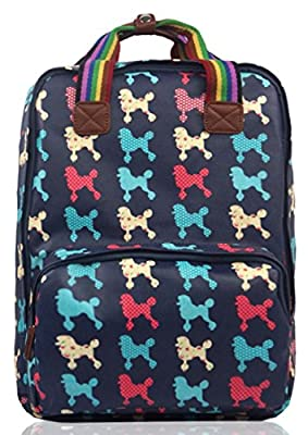 Kukubird Various Dog Poodle Dachshund Butterfly Bird Cat Floral Print Canvas Laptop Backpack Rucksack with Kukubird Dust Bag