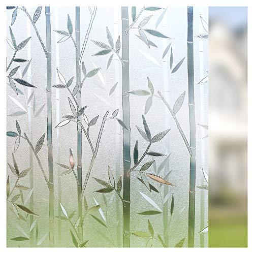 rabbitgoo Film Intimité pour Vitre Statique Décoratif Film Adhésif Fenêtre Vitrage Autocollant 60 cm × 200 cm Motif Bambou