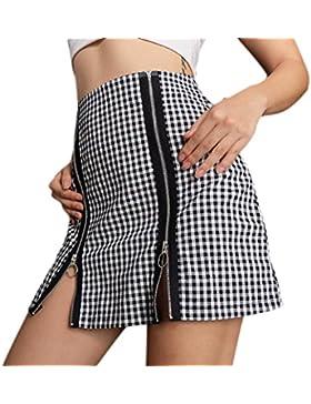 Paquete de empalme con cremallera de tela escocesa de mujer sexy Falda de nalgas