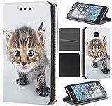 Samsung Galaxy Xcover 3 Hülle von CoverHeld Premium Flipcover Schutzhülle Xcover 3 aus Kunstleder Flip Case Motiv (1462 Katze Katzen Baby Kätzchen Grau Süß)