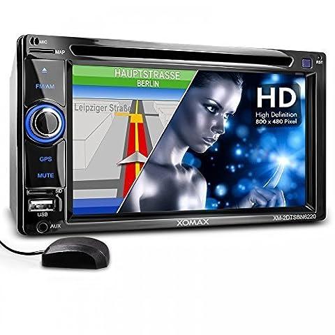 XOMAX XM-2DTSBN6220BT Autoradio / Moniceiver / Naviceiver mit GPS Navigation + Navi Software inkl. Europa Karten (48 Länder) + Bluetooth Freisprechfunktion & Musikwiedergabe + 6,2