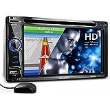 """XOMAX XM-2DTSBN6220BT Autoradio / Moniceiver / Naviceiver avec navigation GPS + GPS auto intégré avec cartographie Europe (48 pays) + Fonction sans fil Bluetooth avec importation de l'annuaire + Écran tactile de 6,2"""" / 16cm, 16:9 HD (800 x 480 px) + Lecteur DVD et CD+ Port USB (128 GB) + Fente pour cartes SD (128 GB) + MPEG4, MP3, WMA, JPEG etc. + Connexions pour subwoofer, caméra recul et commandes au volant + Dimensions standard double DIN (2DIN) + Télécommande, tiroir métallique, cadre inclus"""