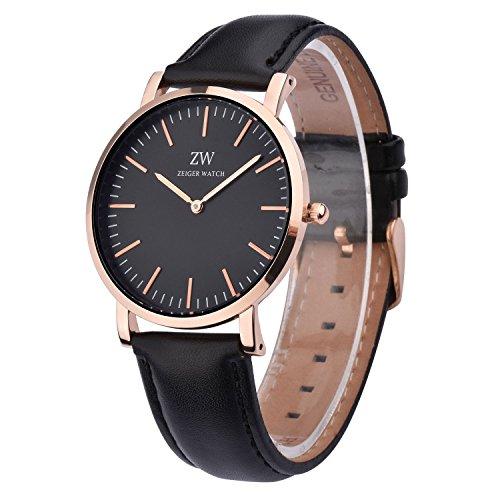 KZKR Unisex Uhr Analog Quarzwerk Minimalistisches Design mit Schwarz Leder Armband W444