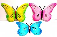 3x BUTTERFLIES LARGE PAINT COLOURED METAL BUTTERFLY WALL ART OUTDOOR GARDEN from grenland