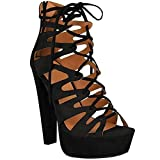 Fashion Thirsty New Womens Damen High Heels Plattform Gladiator Sandalen Schnür Stiefel Schuh Größe