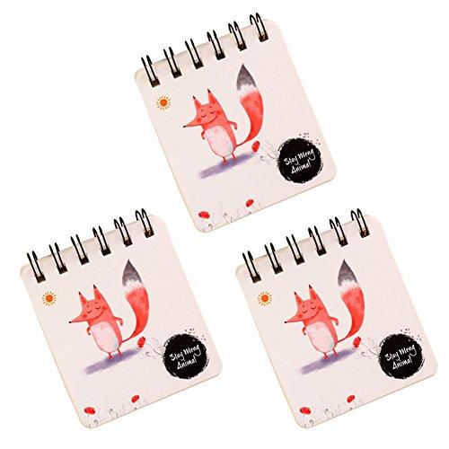oyfel Mini Spirale Notebook klein Poket Größe Studenten Tägliche Notizblock Travel Journal Diary Papier Note Book Geschenk Cartoon Mustern Schule 3 8.3 * 9.4cm fuchs (Top-spirale Gebunden Notebook)