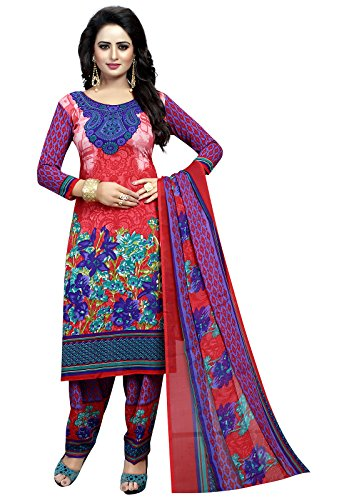 Ishin Synthetic Multicolor Party Wear Wedding Wear Casual Wear Daily Wear Bollywood New Collection Latest Design Printed Trendy Unstitched Salwar Suit Dress Material (Anarkali/Patiyala) With Dupatta  available at amazon for Rs.399