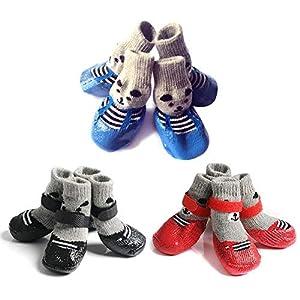 Prom-note Chien Chaussettes antidérapantes Chaussure pour Chien Neige Bottes pour Chiens Antiderapant Imperméable Paw de Protection - Conception antidérapante des Semelles Douces, 4Pcs
