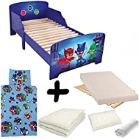 Bebegavroche Complete Pack Trio pyjamasques = Bed + Mattress & Bedding Set Duvet + Pillow +