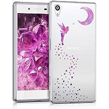 kwmobile Funda para Sony Xperia Z5 - Case para móvil en TPU silicona - Cover trasero Diseño Hada en rosa fucsia violeta transparente