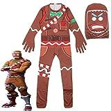 EisEyen Kinder Jumpsuit Lebkuchenmann Spielkleidung Pyjama Cosplay Mädchen Jungen Weihnachten Kostüm Kostümrollenspiel, 160cm, Einheitsgröße