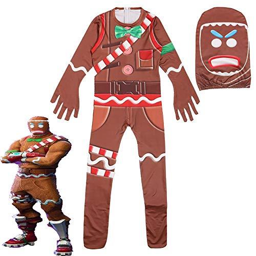 EisEyen Kinder Jumpsuit Lebkuchenmann Spielkleidung Pyjama Cosplay Mädchen Jungen Weihnachten Kostüm Kostümrollenspiel