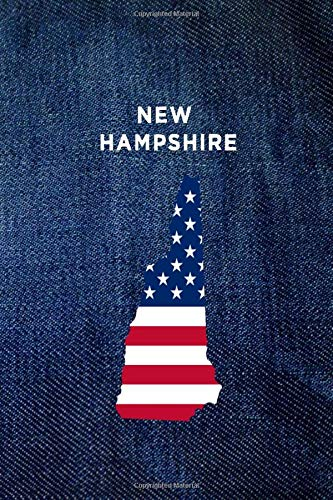 NEW HAMPSHIRE: 6x9 lined journal : vintage denim jeans : USA Flag : The Great State of NH