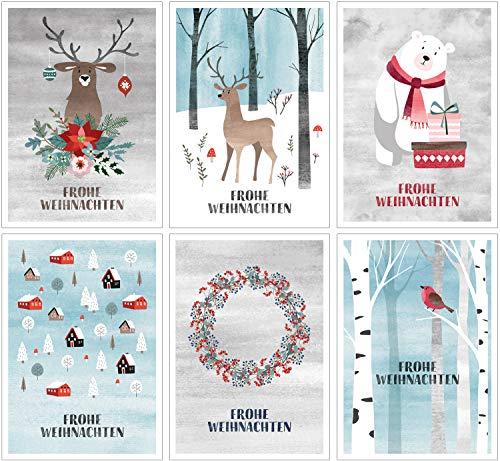CherryCards 12er Set Postkarten Weihnachtskarten Aquarell Optik 6 Motive jeweils 2 Stück im Set DIN A6 Postkartenformat Grußkarten für Familie Freunde Kunde