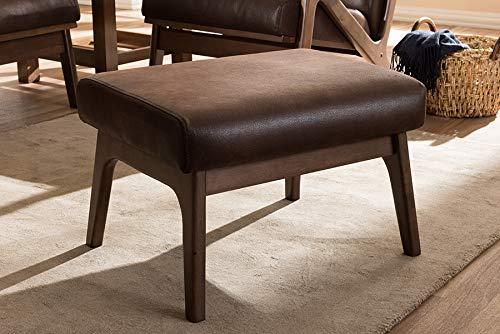 Distressed Faux Leather (Baxton Studio Bianca Mid-Century Modern Walnut Wood Dark Brown Distressed Faux Leather Ottoman)