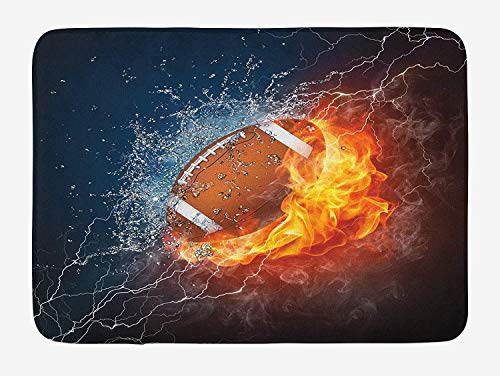 Sports Bath Mat, Football on Fire and Water Flame Splashing Thunder Bolt Abstract Conceptual Art, Plush Bathroom Decor Mat with Non Slip Backing, 23.6 W X 15.7 W Inches, Multicolor
