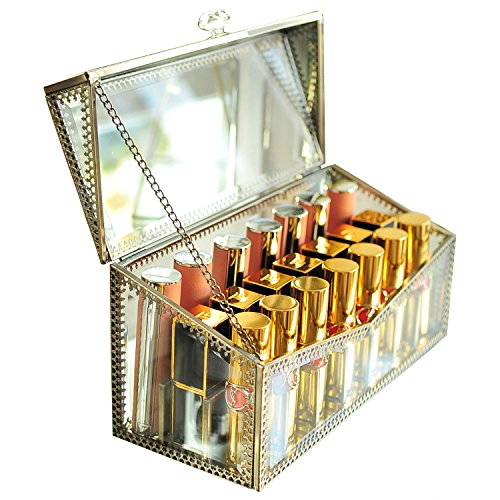 High-End Lippenstift Halter Staub Glas transparent Lipgloss Eye Liner Unterschrank Kommode cosmeticstorage Make-up Organizer Mit herausnehmbaren Trennwänden 21spaces