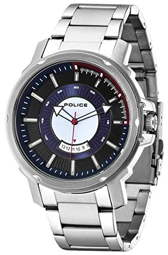 POLICE Herren Analog Quarz Uhr mit Edelstahl Armband P14382JS-02M