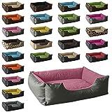 BedDog Hundebett LUPI/Hundesofa aus Cordura & Microfaser-Velours/waschbares Hundebett mit Rand/Hundekissen Vier-eckig/für drinnen & draußen/S/PINK-Rock/grau-rosa
