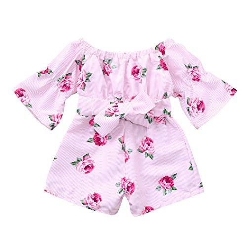 Trada Baby Spielanzug, Sommerkleidung Bekleidung Neugeborenes Kleinkind Säuglingsbaby gestreifte Druckspielanzug Overall Ausstattungs Kleidung Strampler Outfits Rompers Set (80, Rosa)