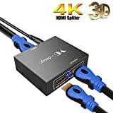 HDMI Splitter,hdmi splitter 1 auf 2 HDMI Switch 1 Eingang 2 Ausgang hdmi verteiler 1 in 2 out,Full HD 1080p 3D HDMI,intelligenter Switch,unterstützt 3D Video 4K HD für HDTV PC DVD, STB usw. …