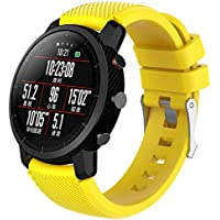 Zhuhaimei,Smart Watch Band de 22 mm para Xiaomi HUAMI AMAZFIT 2(Color:Amarillo)